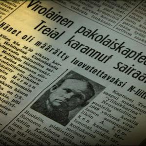 Sanomalehtijuttu Treailin paosta (1949).