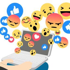 Facebook-knappar som anger reaktioner av olika slag
