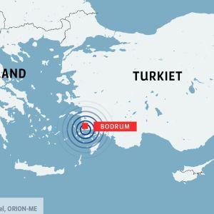Karta med den turkiska staden Bodrum utmärkt.
