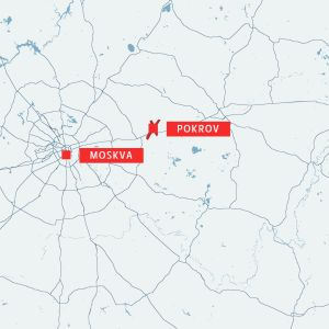 Karta som visar staden Pokrov och Moskva.