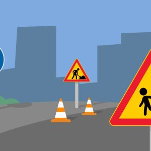 Grafik föreställande olika vägmärken.