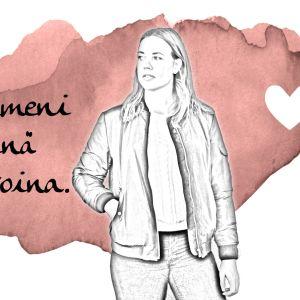 """Kuvassa Tiia Pennanen ja teksti: """"Stressi ilmeni fyysisinä vatsavaivoina."""""""