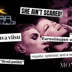 Saaran kilpailukappale Monster ja siitä kirjoitettuja otsikoita: she ain't scared, tarttuva viisu, tässä on euroviisujen voittaja.