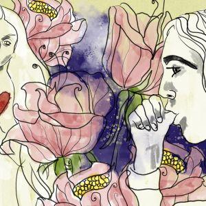 Piirretyssä kuvassa Julia taustalla ja etualalla Romeo imee peukaloaan.