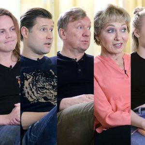 Kuvassa Thelma Siberg, Antti Väre, Lari Halme, Aimo Räsänen, Inga Sulin, Lotta Lehtikevari ja Panu Mikkola.