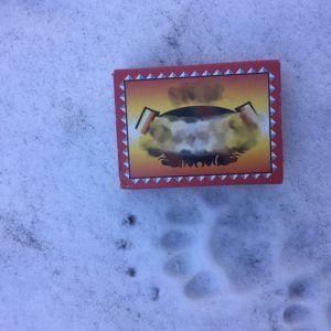 Ett tassavtryck i snön med en tändsticksask bredvid.