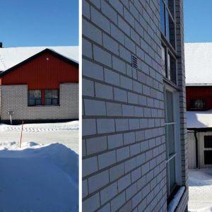 Två bilder på hus med snö på taket. I snön syns spår av däggdjur.