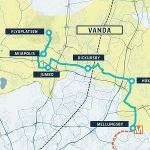 Karta över den nya spårvägen i Vanda.