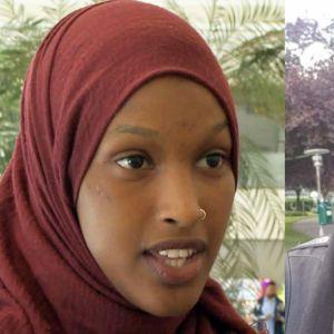 Kvinna i hijab till vänster och i niqab till höger