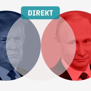 Bild på Donald Trump och Vladimir Putin i Helsinki2018 blå och röd cirkel.