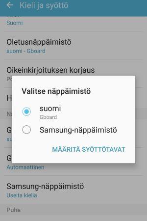 Ruutukaappaus Samsungin asetuksista. Kuvassa Kieli ja syöttö -välilehti ja siinä nostettu Valitse näppäimistö -valikko