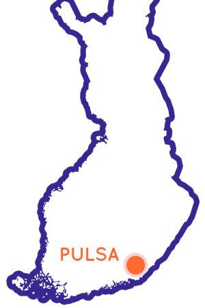 Finlands karta som visar Pulsas position.
