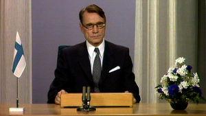 Mauno Koivisto pitää uudenvuoden puhetta 1982.