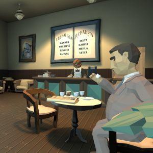 Screenshot Salakapakka-pelistä. Etualalla mieshahmo, joka juo teetä. Taustalla kahvilan tiski, jonka takana seisoo tarjoilija. Ruoka- ja juomalistat ovat seinällä tarjoilijan takana.