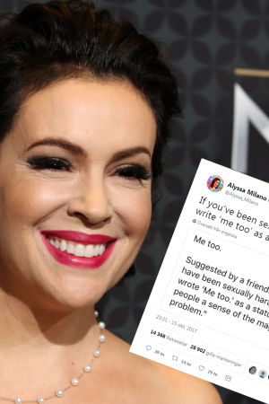 Alyssa Milano och en tweet som är photoshoppad i samma bild.