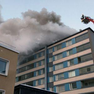 Höghus brinner i Tammerfors