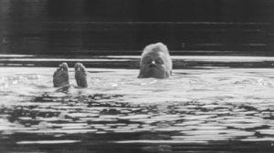 Mies ui järvessä.
