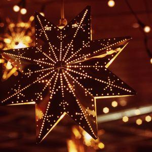 Julstjärna i kvällsbelysning
