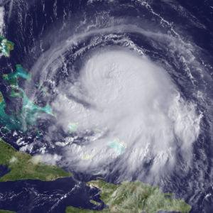 Orkanen Joaquin över Västatlanten den 30 september 2015.