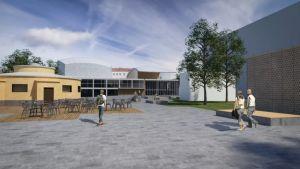 Skiss över hur konserthuset skulle se ut efter renoveringen.