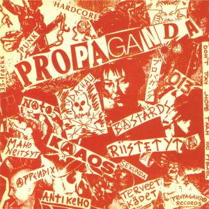 Propaganda recordsin vuonna 1982 julkaiseman Russia Bombs Finland -kokoelmalevyn kansikuva.