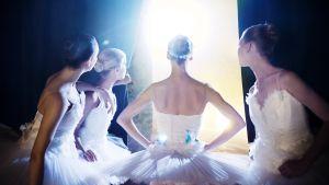 neljä balleriinaa katsoo tummien verhojen välistä kirkkaaseen valoon