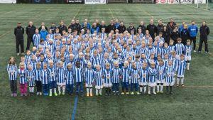 Alla Åbo Uniteds knattar samlade på säsongavslutningen i oktober 2015.