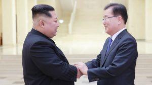 Nordkoreas ledare Kim Jong-un skakar hand med den sydkoreanske presidenten Moon Jae Ins nationella säkerhetsrådgivare Chung Eui-Yong.
