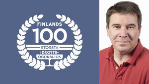 Johan Portin med logon för Finlands 100 största idrottsögonblick.
