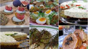 Sex olika maträtter i samma bild.
