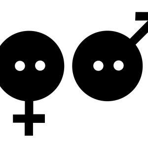 Grafisk bild med en knapp som kvinnosymbol och en knapp som manssymbol. Svarta bilder och vit bakgrund.