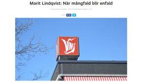 En skärmdump av kolumnen Marit Lindqvist: När mångfald blir enfald.
