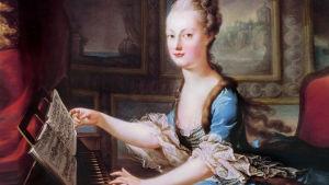 Kuningatar Marie-Antoinette klavikordia soittamassa, Franz Xaver Wagenschönin maalaus.