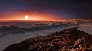Illustration på planet nära stjärnan Proxima Centauri.