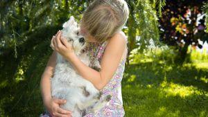 Flicka med hund.