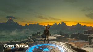 Link blickar ut över den stora världen i Zelda: Breath of the Wild