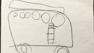 Bild av ett dagis på hjul, två hjul och en buss med dörr.