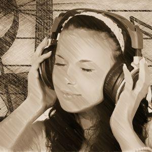 Flicka som lyssnar på musik.