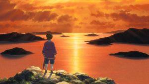 En ritad bild där en ung person står och tittar ut över havet i solnedgången.