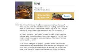 Romeo testar nätdejting för att rädda sin art.