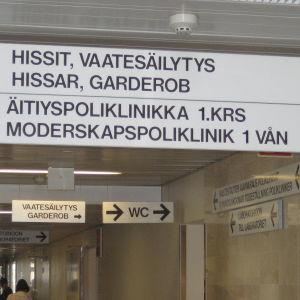 Interiör från Kvinnokliniken i Helsingfors.