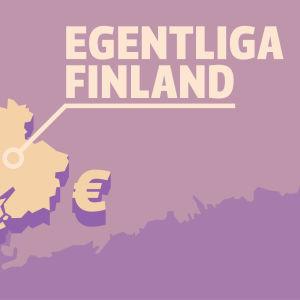 Karta på landskapet Egentliga Finland och Eurosymboler