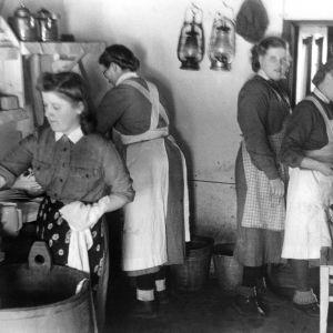 Lottia keittiöaskareissa jatkosodan aikana vuonna 1941.