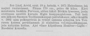 Kuvateksti, jossa kerrotaan Arvid Lindistä. Alkoi kesällä 1892 ajaa kilpaa polkupyörällä.