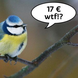 Blåmes med pratbubbla: 17 €. wtf?