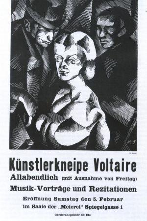 Plansch av Marcel Słodki för öppningen av Cabaret Voltaire i Zürich 1916