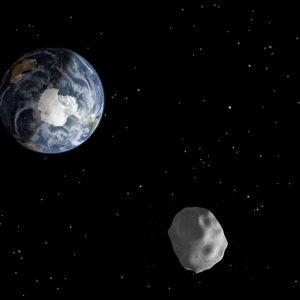 Nasas illustration av en asteroid som passerar jorden.