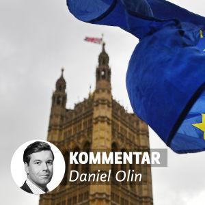 Bild på Eu:s flagga framför byggnad i London, text kommentar Daniel Olin och liten bild på mans ansikte