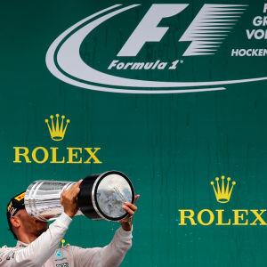 Lewis Hamilton firar segern, Hockenheim, 31.7.2016.