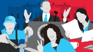 Grafisk illustration som symboliserar USA:s president.